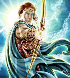 APOLO : Dios del sol , de  la belleza másculina , de las artes , la profecía y la medicina ; hijo de Zeus y Leto y hermano mellizo de Artemisa