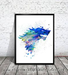 """House Stark Watercolor Print   Community Post: 21 Perfect Gifts For The """"Game Of Thrones"""" Fans In Your Life"""