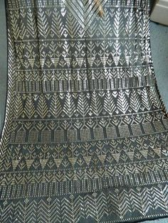 "Stunning antique black & silver 1920's Egyptian Assuit shawl - 30"" x 88"""
