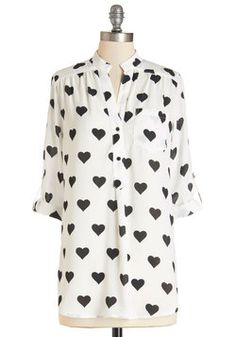 Love Ballad Tunic in White. Show how fun it is to experience that fluttering feeling by wearing this sheer white tunic, which touts a sentimental, solid black heart print, and you just may make others bat their lashes, too! #white #modcloth