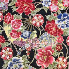 和調生地 和風花柄 着物風 雅やか華模様 黒×マルチ:160086C:生地net ... Japanese Patterns, Japanese Fabric, Oriental Wallpaper, Traditional Japanese Kimono, Kimono Pattern, Oriental Design, Safari, Drawing Reference, Pattern Design