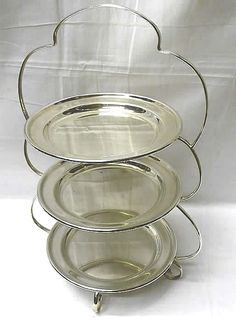 Edwardian era silver plated cake stand with 3 detachable plates. These very stylish serving stands & English Silver Plated 3 Tier Cake Stand | afternoon tea | Pinterest ...