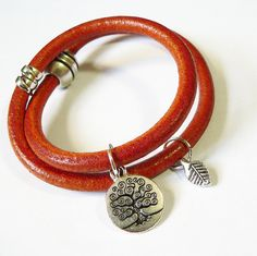 Deep Orange Spanish Leather bracelet with Tree of Life Pendant  Really like the color on this bracelet and the magnetic closure.