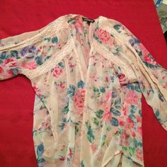 PRICE DROP 2 Express Kimono Tops M w/ BONUS TOP Preloved express kimono tops in medium: one black and one cream/floral.  They ran big- I was normally a large when I bought these. Nice layering piece! I WILL INCLUDE A BONUS BLACK DRESSY EXPRESS TOP (large) WITH PURCHASE OF THIS SET. One of  3 listings that need to go, I am moving. Express Tops