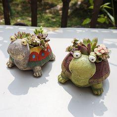 1pc Cute Cartoon Turtle Planter for Succulents Decorative Desktop Flower Pot for Mini Bonsai Home Garden Decoration #Affiliate