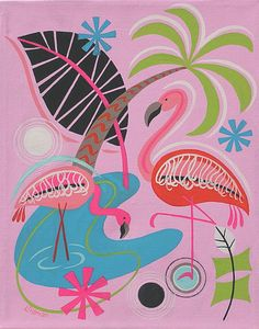 Mid Century Modern Eames Retro Limited Edition Print from Original Painting Flamingo Montage
