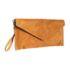 Lucia Italian Tan Leather Envelope Clutch Bag - £19.99
