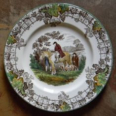 Vintage Spode Copeland Brown Transferware Plate Man on Horse Dogs Hunt – Nancy's Daily Dish