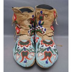 Wearable art of the early 1900's. Beautifully beaded Nez Perce Moccasins, c. 1910s-20s