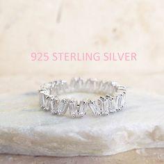 Les diamants CZ diamant Baguette Alliance or blanc CZ argent 4 mm argent…