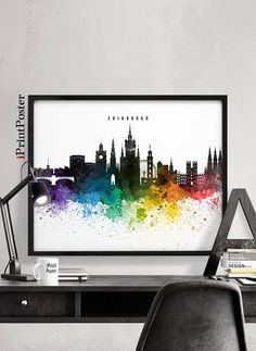 London poster London art print London skyline by iPrintPoster Chicago Poster, London Poster, London Art, Poster City, Chicago Art, Cityscape Art, Skyline Art, Wall Art Prints, Poster Prints