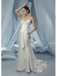 Stretch Satin Spaghetti Strap Modified Sweetheart Ruffled Bodice Column Wedding Dress