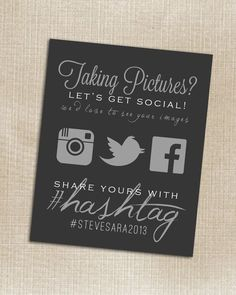 Just stumbled on this...feels cool yet a little too much...maybe I'm just not that 'with it'. :)  Wedding Instagram, Facebook, Twitter Black Hashtag card | How Do It