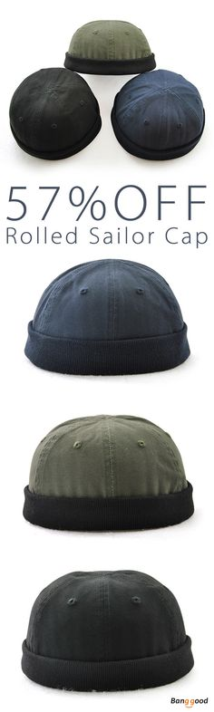 57%OFF&Free shipping. Skullcap, Sailor Cap, Rolled, Cuff, Retro Brimless Hat, Color: Black, Dark Blue, Army Green. Shop now~
