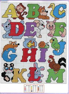 Alphabet animals A-M pattern