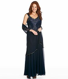 Jkara Beaded Chiffon Gown- Got this from Belk b/c of delayed shipping from Dillards, but didn't have shawl. Very pretty. Silver beading makes it look very special, but not overdone. Also a contender, but I'm self-conscious of my arms.