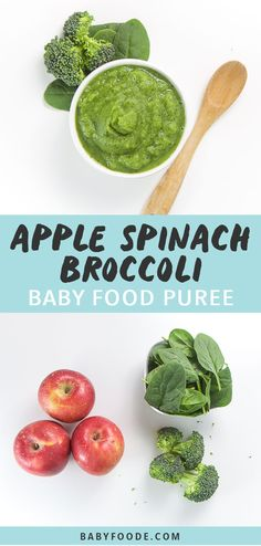 Spinach and broccoli are added to simmering apples for this delicious baby food puree! Great for babies aged 6 months and older, this fast homemade puree takes just 10 minutes and is loaded with vitamins and antioxidants for baby! baby food recipes by age 6 Month Baby Food, Baby Food By Age, Food Baby, Baby Puree Recipes, Pureed Food Recipes, Baby Food Puree, Healthy Recipes, Baby Broccoli Recipe, Broccoli Baby Food
