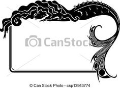 Vector - Art-nouveau mermaid silhouette frame - stock illustration, royalty free illustrations, stock clip art icon, stock clipart icons, logo, line art, EPS picture, pictures, graphic, graphics, drawing, drawings, vector image, artwork, EPS vector art