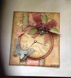 Card made using a Kaszazz clock stamp Made by Noreen Meekins Butterfly Cards, Flower Cards, Shabby Chic Cards, Heartfelt Creations, Sympathy Cards, Xmas Cards, Vintage Cards, Greeting Cards Handmade, Scrapbook Cards