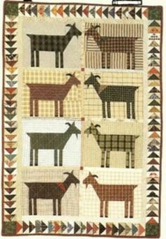 Louise & Friends Quilt Pattern this looks like it would be fun to make Cute Quilts, Small Quilts, Mini Quilts, Quilt Baby, Quilting Projects, Quilting Designs, Goat Art, Farm Quilt, Quilt Modernen