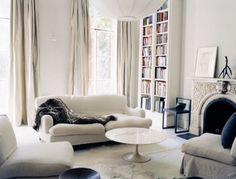 so soft...  Tom Delavan {white classic traditional vintage modern living room}