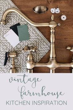 Vintage farmhouse kitchen design flatlay with antique brass, sage green, rustic wood tones, porcelain knobs, and black accents. Add farmhouse style to your kitchen with the Kingston Brass Heritage Bridge Faucet. Vintage Farmhouse, Farmhouse Style Kitchen, Modern Farmhouse Kitchens, Black Kitchens, Farmhouse Design, Rustic Kitchen, Vintage Kitchen, Farmhouse Kitchen Faucets, Farmhouse Decor