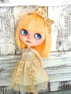 Blythe doll dress  -vintage and light - coffee stained grunge shabby art wear