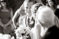 Love how this dad is looking at his beautiful daughter on her wedding day! Photo by Jane Wiggins Photography.