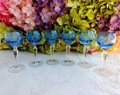 6 Nachtmann Crystal Cut to Clear Cordial Wine Glasses Traube Aquamarine ~ Signed #Nachtmann