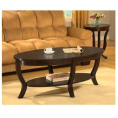Espresso Stained Wood Oval Living Room Furniture Storage Shelf Coffee Table | eBay $167  48x20