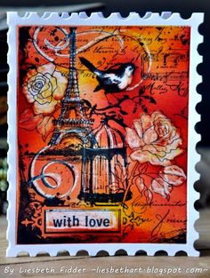 Liesbeth Fidder -  a card made with the stamp Eiffel Collage Stampendous.  I ♥️♥️ her creativity...