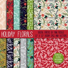 Christmas Holiday Floral Patterns by PinkPueblo on Creative Market