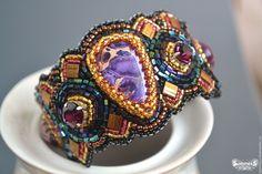 """Купить Браслет """"Магия Вселенной"""" - тёмно-фиолетовый, Браслет ручной работы, браслет с камнями"""
