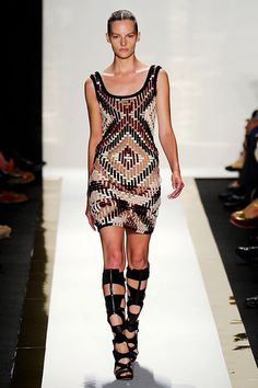 Hervé Léger by Max Azria S2012 -- How stunning is this dress? Live for the cutout boots.