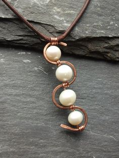 Leather Freshwater Pearls and Copper Necklace by byNaturesDesign