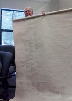 A Bartram Genealogy Club member shows off the family tree his father created on the back of a roll-up window shade.