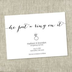Wedding Save the Date, Black  White Engagement, Modern Wedding, Fun, Quirky, He put a ring on it - Contemporary Design - PRINTABLE - The Chambray Bunny www.thechambraybunny.com