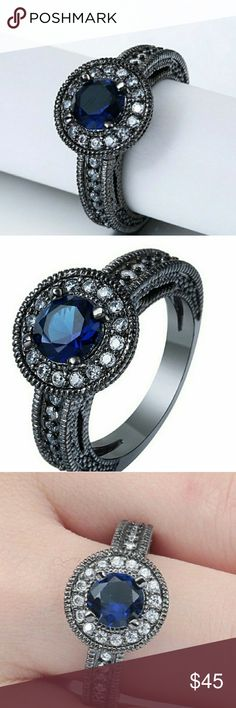 Sapphire Round Black Gold Filled Ring Size 6 Sapphire Round Black Gold Filled Ring Simulated Stones AprilsPlace Jewelry Rings