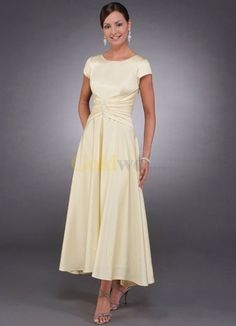 Short Sleeves Beaded Pin Tea Length Satin Mother Of Bride And Groom Dress