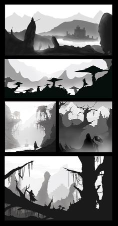 Composition practice 180815 by on DeviantArt Landscape Sketch, Landscape Concept, Fantasy Landscape, Landscape Art, Landscape Paintings, Landscapes, Background Drawing, Landscape Background, Composition Painting