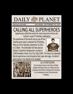 Superhero party invitation, awesome!