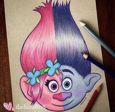 t's Princess Poppy & Branch! Cute Disney Drawings, Cool Art Drawings, Pencil Art Drawings, Art Drawings Sketches, Cartoon Drawings, Easy Drawings, Drawing Drawing, Branch Drawing, Drawing Faces