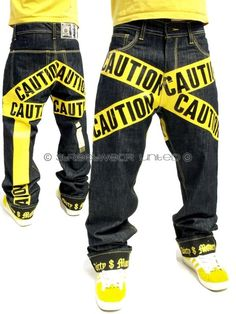Dirty Money is ® Yellow Caution Raw Time Hip Hop Mens Loose Fit Baggy Jeans Boys in Vêtements, accessoires, Hommes: vêtements, Jeans | eBay