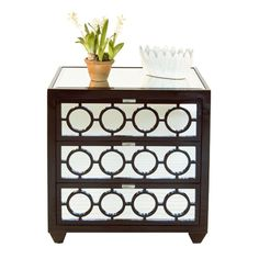 Chocolate Lacquer 3 Drawer Nightstand. All drawers on glides.