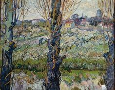 Orchard in Bloom with Poplars Vincent van Gogh art for sale at Toperfect gallery. Buy the Orchard in Bloom with Poplars Vincent van Gogh oil painting in Factory Price. Vincent Van Gogh, Van Gogh Art, Art Van, Paul Gauguin, Claude Monet, Desenhos Van Gogh, Van Gogh Pinturas, Van Gogh Paintings, Flower Paintings