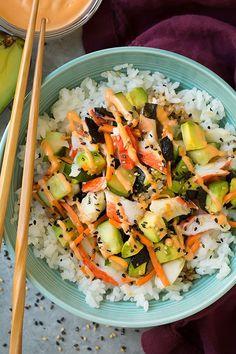 Roll Sushi Bowls California Roll Sushi Bowls Recipe on Yummly. Roll Sushi Bowls Recipe on Yummly. Sushi Recipes, Seafood Recipes, Asian Recipes, Cooking Recipes, Healthy Recipes, Salmon Recipes, Cooking Games, Simple Recipes, Light Recipes