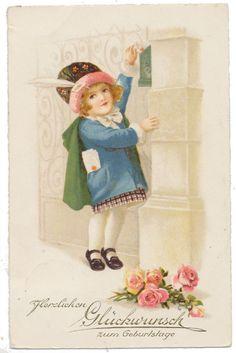 Euro Ellen Clapsaddle - Girl Mailing Letter