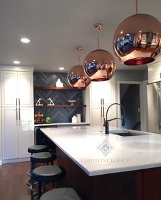 Christine Kohut Interiors. Rose Gold, quartz counters, marble chevron backsplash, interior design, kitchens