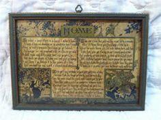 Antique Art Nouveau Silhouette Lithograph Edgar A Guest Home Poem Buzza Motto