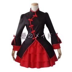 J642 black red gothic lolita COSPLAY tiered bow apron long sleeves dress Chinese